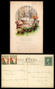 US #424 or 462 on POSTCARD with CHRISTMAS SEAL,  quite neat, WX18,  seldom se...