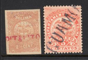 Columbia Tolima 2 Different Used Straight Line Cancels b514