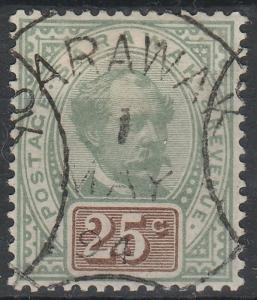 Malaya 1888 Sarawak Sir Charles Brooke 25c Used 'Sarawak' Pmk SG#18 CV£50 MA1525