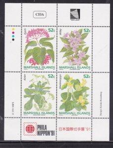 Marshall Islands 395-398, MNH Minisheet of 4 - Flowers