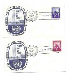 UN NY #61-62 3c + 8c General Assembly, UN Official FDCs