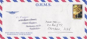 BD130) Cook Is. OHMS Air mail cover bearing: Christmas. Price: $6