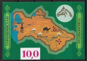1992 Turkmenistan 9 Map MNH S/S of 9