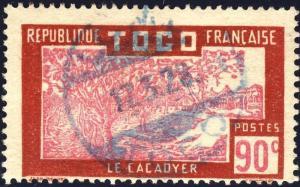 TOGO - 1928 - CAD LOME (TYPE ALLEMAND) EN BLEU SUR 90c CACAOYER (Yv.146)