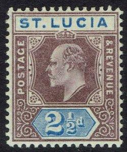 ST LUCIA 1902 KEVII 21/2D WMK CROWN CA