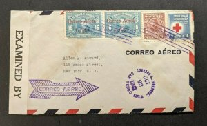 1942 San Pedro Sula Honduras Censored Airmail Cover to New York CIty Overprint
