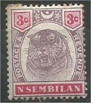 NEGRI SEMBILAN, 1895, MH 3c Tiger Head Scott 7 Rust Marks