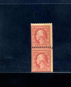 Scott #449 Washington Mint Coil Line Pair of 2 Stamps with PF Cert (Stock 449-1)