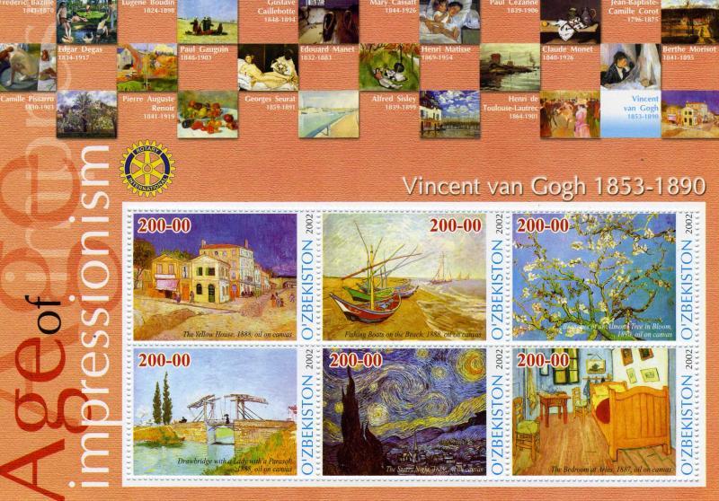 Uzbekistan 2002 VINCENT VAN GOGH Paintings Rotary Sheet Perforated Mint (NH)