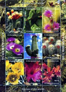 Turkmenistan Cactus of the World Sheet (9) Perforated mnh.vf