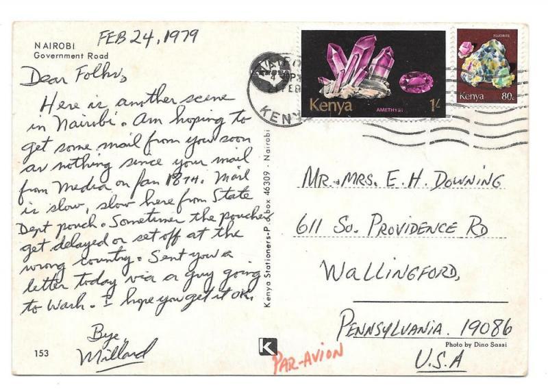 Africa Kenya to US Sc 104 105 Minerals on 1979 Postcard