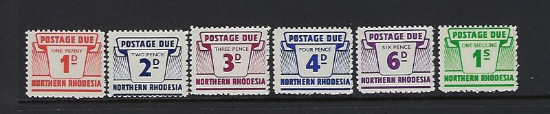 NORTHERN RHODESIA SCOTT #J5-J10 1964 POSTAGE DUES- MINT NEVER   HINGED