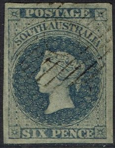 SOUTH AUSTRALIA 1856 QV 6D IMPERF USED ADELAIDE PRINTING