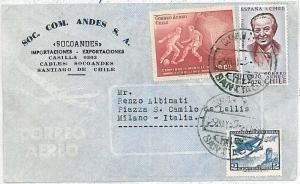 26768 -  FOOTBALL - POSTAL HISTORY - CHILE : COVER to ITALY