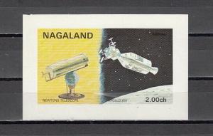 Nagaland, 1972 India Local. Newton Telscope & Apollo XVI s/sheet.