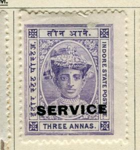 INDIA; INDORE-HOLKAR 1904 early local SERVICE issue Mint hinged 3a. value