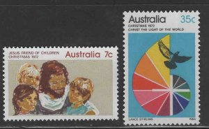 AUSTRALIA Scott 539- 540 MH* Christmas 1972 stamp set