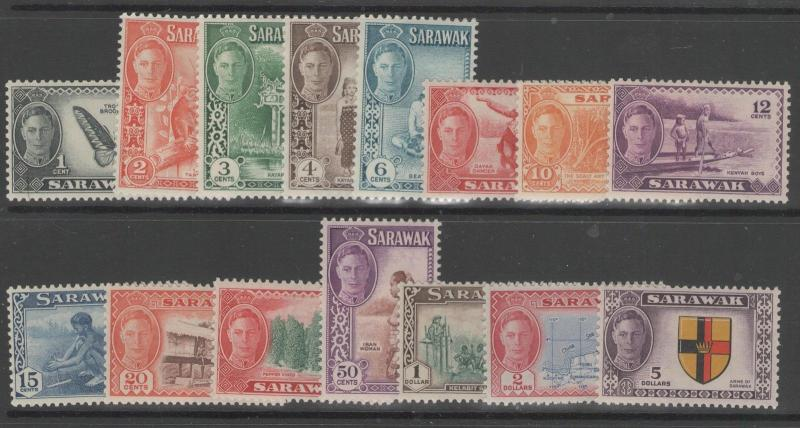 SARAWAK SG171/85 1950 DEFINITIVE SET MTD MINT