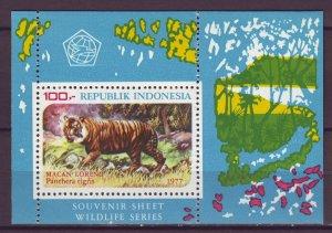 J25117 JLstamps 1977 indonesia s/s mnh #1016a wild animal tiger