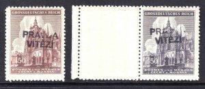 BOHEMIA & MORAVIA 88-89 PRAVDA VITEZI OVERPRINT OG NH U/M F/VF TO VF