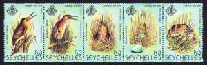 Seychelles Chinese Little Bittern Bird strip of 5v SG#523-526 SC#483