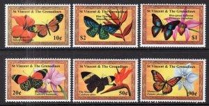 St Vincent 2904-2909 Butterflies Flowers MNH VF