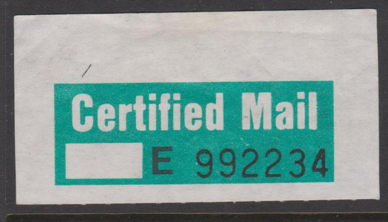 Australia Certified Mail Label Unused