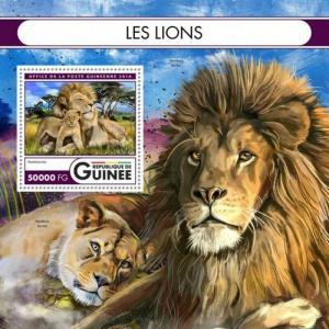 Guinea - 2016 Lions on Stamps - Stamp Souvenir Sheet - GU16509b
