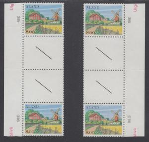 Aland Sc 19 MNH. 1984 8m Farm House & Windmill, 2 Matched Gutter Pairs, VF+