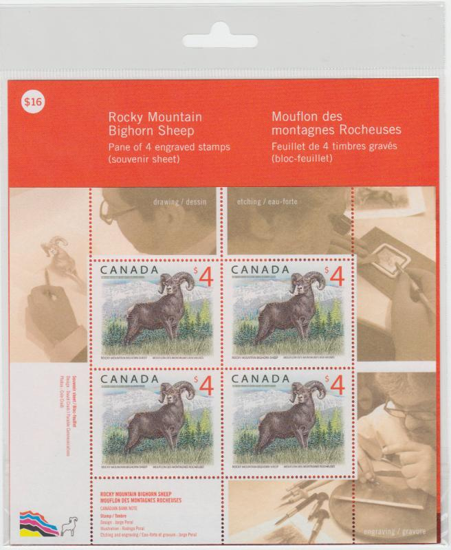 Canada -  #3129 Rocky Mountain Bighorn Sheep Stamp Pane of Four (2018) - MNH