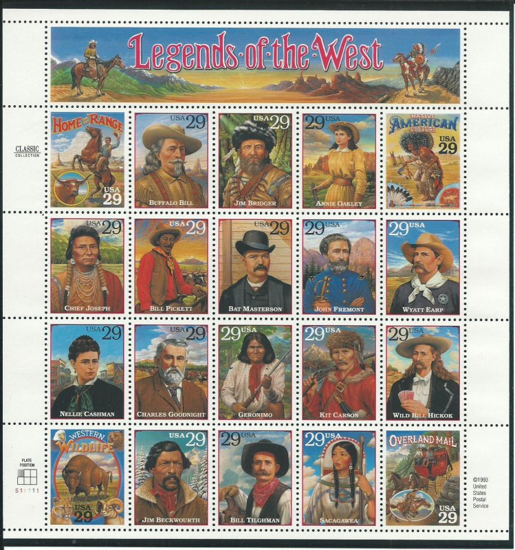 1994 Legends of the West Se-Tenant Pane of 20 Unused Never Hinged