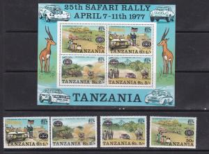 Tanzania 1977 rally car automobiles animals set+s/s MNH