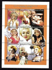 Chad 704J MNH 1997 Marilyn Monroe sheet of 9