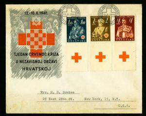 Croatia Stamps # B3-5 Affixed to Scarce WWII Cover to New York