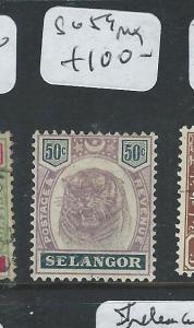 MALAYA SELANGOR  (P0810B) 50C BLACK AND VIOLET TIGER HEAD SG 59  MOG