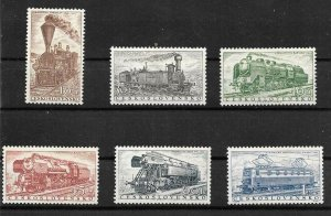 #20131 CESKOSLOVENSKO 1956 TRANSPORT TRAIN LOCOMOTIVE SET YV 875-80 MNH