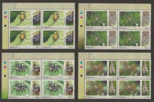 Malaysia 2009 Stamp Week / Arachnids Block of 4V set SG #1621b-1624b P.14 at top