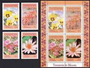 Tanzania Flowers 4v+MS SG#474-MS478