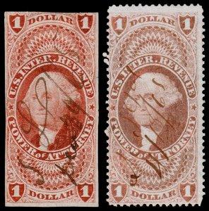 United States Revenue Scott R75a, R75c (1862-71) Used F, CV $102.75 W
