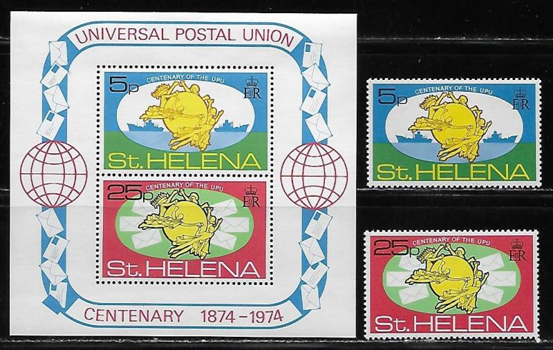 St. Helena 283-4a 100th UPU set and s.s. MNH