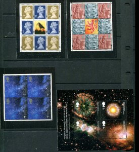 GREAT BRITAIN 2002 ACROSS THE UNIVERSE Set Blocks From Booklet MNH Space