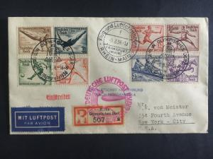 1936 LZ 129 Germany Hindenburg Zeppelin Olympics Cover to USA Full set # B82-B89