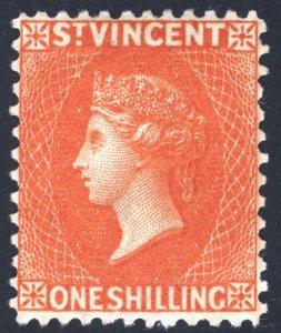 St Vincent 1883 1s OrgeVerm WMK CA PERF12 SG 45 Scott 39 LMM/MLH Cat£150($195)