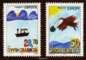 2002 YUGOSLAVIA-COMPLETE SET (MNH)! europe children child draw ship bird I20