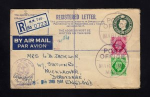 GB: 1944 Registed PSE Cover to ENGLAND MARITIME MAIL Cancel