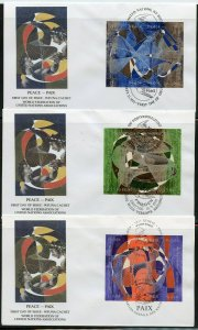 UN 1993 PEACE WFUNA CACHET BY HANS ERNI ON 3 FIRST DAY COVERS