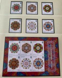 JE9) Jersey 2017 Kaleidoscopes set of 6 & Sheetlet MUH