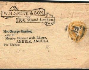GB QV Stationery WH SMITH Yellow 1½d WRAPPER ANGOLA *Ambriz* c1894 23b.4