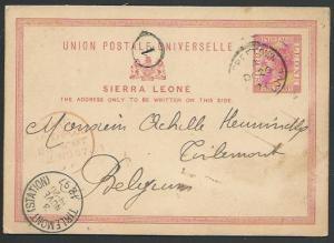 SIERRA LEONE 1897 QV 1d postcard used to Belgium - via Liverpool Packet....56812