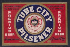 Beer Label: Tube City Pilsner McKeesport PA IRTP notice Mint and pretty design